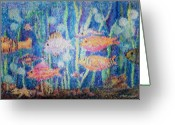 Sea Life Mixed Media Greeting Cards - Stained Glass Fish Greeting Card by Arline Wagner
