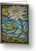 Lilly Pad Greeting Cards - Stained Glass Frog Greeting Card by Lee Stockwell