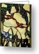 Window Glass Art Greeting Cards - Stained Glass Humming Bird Vertical Window Greeting Card by Thomas Woolworth