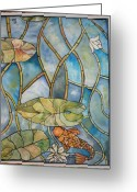 Lilly Pad Greeting Cards - Stained glass Koi Greeting Card by Lee Stockwell