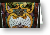 Stain Glass Window Glass Art Greeting Cards - Stained Glass LC 01 Greeting Card by Thomas Woolworth