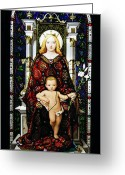 Stained Greeting Cards - Stained Glass of Virgin Mary Greeting Card by Adam Romanowicz