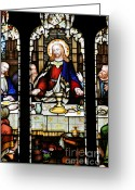Bread Greeting Cards - Stained Glass Window Last Supper Saint Giles Cathedral Edinburgh Scotland Greeting Card by Christine Till