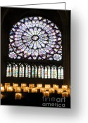 Stained Greeting Cards - Stained glass window of Notre Dame de Paris. France Greeting Card by Bernard Jaubert