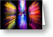 Washington Cathedral Greeting Cards - Stained Glass Windows Give Abstract Greeting Card by Stephen St. John