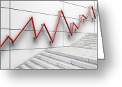 Bannister Greeting Cards - Stair Bannister Shaped Like A Graph Greeting Card by Jorg Greuel