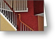 Bannister Greeting Cards - Staircase Greeting Card by Sarah Loft