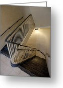Bannister Greeting Cards - Stairs in a Stairwell Greeting Card by Will & Deni McIntyre