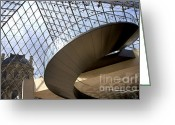 Indoor Greeting Cards - Stairs in Louvre Museum. Paris.  Greeting Card by Bernard Jaubert