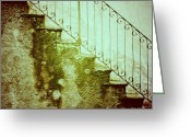 Bannister Tapestries Textiles Greeting Cards - Stairs on a rainy day II Greeting Card by Silvia Ganora