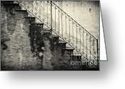 Bannister Tapestries Textiles Greeting Cards - Stairs on a rainy day Greeting Card by Silvia Ganora