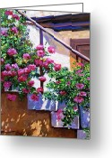  Biltmore Hotel Greeting Cards - Stairway Floral Plein Air Greeting Card by David Lloyd Glover