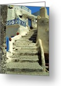 Cobblestones Greeting Cards - Stairway In Santorini Greeting Card by Madeline Ellis