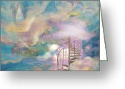 Above The Clouds Greeting Cards - Stairway to Heaven Greeting Card by Anne Cameron Cutri
