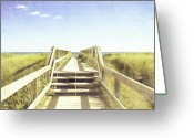 Beach Grass Greeting Cards - Stairway to Heaven Greeting Card by Nancy  Coelho