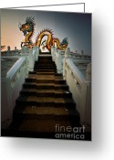 History Pyrography Greeting Cards - Stairway to the Dragon. Greeting Card by Phaitoon Chooti