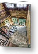 Hall Pyrography Greeting Cards - Stairways Greeting Card by Andreas Jancso