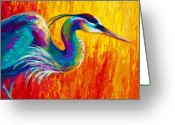 Western Greeting Cards - Stalking The Marsh - Great Blue Heron Greeting Card by Marion Rose