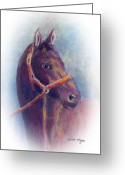 Horserace Greeting Cards - Stallion Greeting Card by Arline Wagner