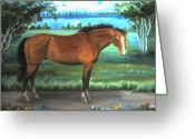 Quarter Horse Greeting Cards - Stallion Portrait Greeting Card by Dawn Senior-Trask