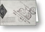 Postage Stamp Greeting Cards - Stamp: Bicycle Post, 1894 Greeting Card by Granger