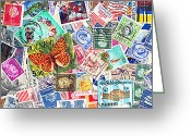 Mail Box Greeting Cards - Stamp Collection . 3 to 1 Proportion Greeting Card by Wingsdomain Art and Photography