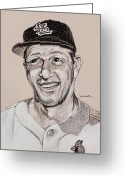 Sports Art Drawings Greeting Cards - Stan the Man Greeting Card by Jim Wetherington
