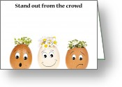 Face Greeting Cards - Stand out from the crowd Greeting Card by Jane Rix