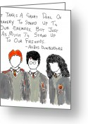 Wizard Drawings Greeting Cards - Stand Up To Your Friends Quote Greeting Card by Jera Sky