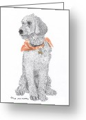 Dog Prints Drawings Greeting Cards - Standard Poddle talking trash Greeting Card by Jack Pumphrey