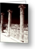 Ancient Prints Greeting Cards - Standing Columns Greeting Card by John Rizzuto