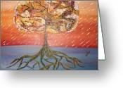 Trees Sculpture Greeting Cards - Standing in the Storm Greeting Card by Alexandra Torres