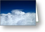 Alto Cumulus Greeting Cards - Standing Lenticular Against the Deep Blue Greeting Card by Rene Triay