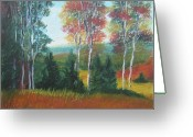 Autumn Landscape Pastels Greeting Cards - Standing Tall Greeting Card by Wynn Creasy