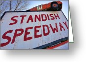 Firebird Greeting Cards - Standish Speedway Greeting Card by Gordon Dean II