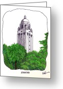 College Buildings Images Greeting Cards - Stanford Greeting Card by Frederic Kohli