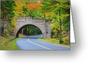 Double Yellow Line Greeting Cards - Stanley Brook Bridge, Acadia Np, Maine Greeting Card by Proframe Photography