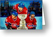 Antique Skates Greeting Cards - Stanley Cup Win In Sight Playoffs   2010 Greeting Card by Carole Spandau