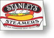 Street Vendor Greeting Cards - Stanleys Steamers Hot Dog Sign - 5D17929 - Painterly Greeting Card by Wingsdomain Art and Photography