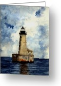Michigan Drawings Greeting Cards - Stannard Rock Lighthouse Greeting Card by Michael Vigliotti
