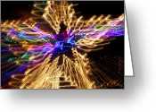 Glowing Star Greeting Cards - Star abstract Greeting Card by Garry Gay