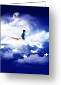 Clouds Mixed Media Greeting Cards - Star Boy Greeting Card by Gravityx Designs