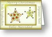 Starry Digital Art Greeting Cards - Star Christmas Card Greeting Card by Donna Van Vlack