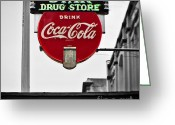 Selective Color Greeting Cards - Star Drug Store Greeting Card by Scott Pellegrin