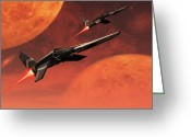 Afterburner Greeting Cards - Star Fighters On A Routine Space Patrol Greeting Card by Mark Stevenson