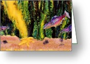 Ocean Tapestries - Textiles Greeting Cards - Star Fish Greeting Card by Carolyn Doe