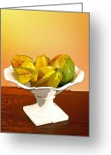 Mango Digital Art Greeting Cards - Star Fruit and Mango Greeting Card by Michelle Wiarda