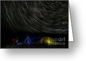 Startrail Greeting Cards - Star-gasers  Under the heavens Greeting Card by Wayne Shakell