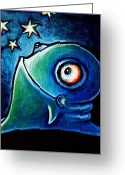 Little Monsters Greeting Cards - Star Gazin Glob Greeting Card by Leanne Wilkes