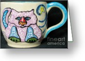 Thrown Ceramics Greeting Cards - Star Kitty Mug Greeting Card by Joyce Jackson